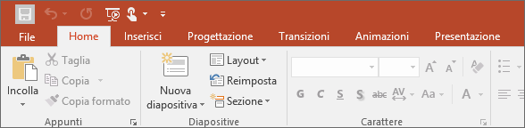 Mostra la scheda Home sulla barra multifunzione di PowerPoint
