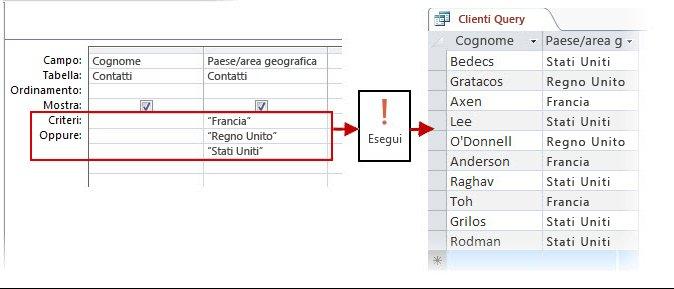 Uso dei criteri OR nella finestra di progettazione e risultato