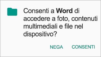 Toccare Consenti per consentire l'accesso a File