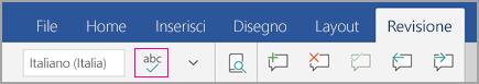 Icona del controllo ortografia nella scheda Revisione