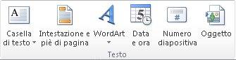 Gruppo Testo della scheda Inserisci sulla barra multifunzione di PowerPoint 2010.