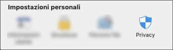 Icona Privacy nelle preferenze applicazione.