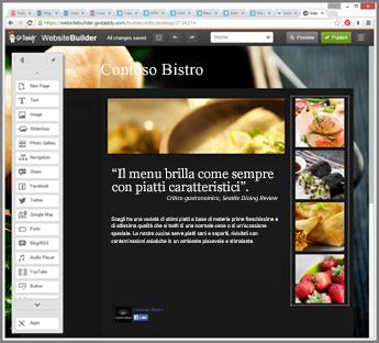 Esempio di barra laterale dello strumento di progettazione siti Web di GoDaddy