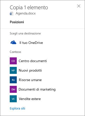 Screenshot dell'opzione per scegliere una destinazione durante la copia di file da OneDrive for Business a un sito di SharePoint.