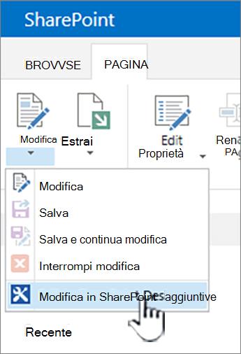 Selezione di SharePoint Designer dal menu Modifica