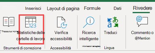 Comando statistiche cartella di lavoro sulla barra multifunzione di Excel