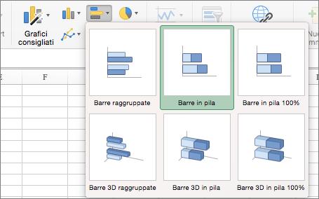 Nella scheda Inserisci selezionare Grafico a barre e quindi Grafico a barre in pila