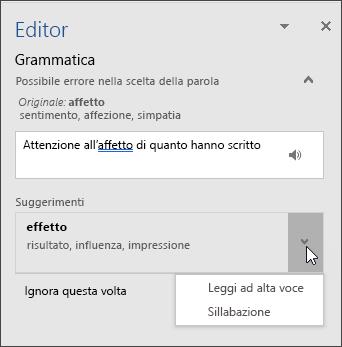 Riquadro attività Editor per la grammatica