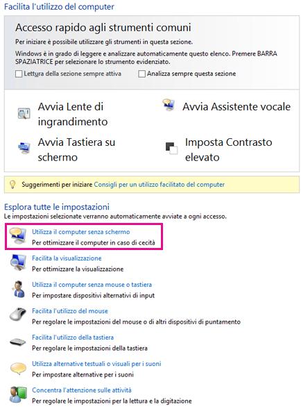 Centro accessibilità in Windows