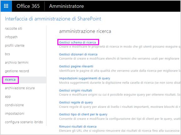 Pagina di amministrazione della ricerca nell'interfaccia di amministrazione di SharePoint