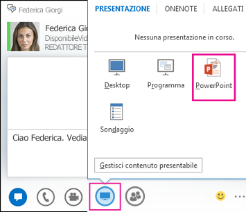 Schermata dell'aggiunta di PowerPoint a un messaggio istantaneo