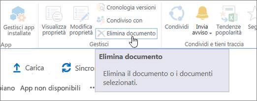 Pulsante Elimina documento evidenziato sulla barra multifunzione File