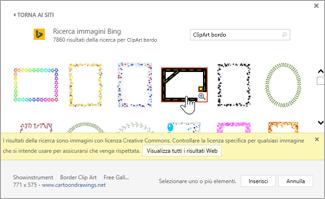 Selezionare una ClipArt bordo da usare