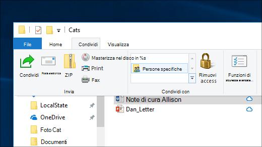 Condivisione di un file con utenti specifici in una rete