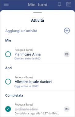 Immagine di un elenco attività.