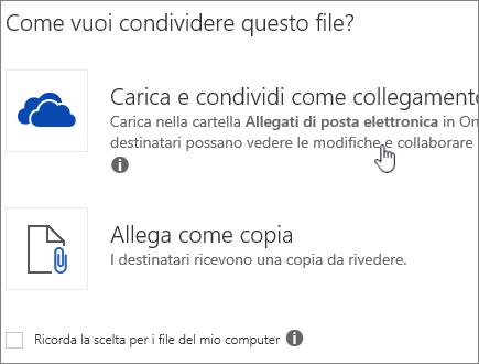 Screenshot della finestra di dialogo Allegato con l'opzione Carica e allega come file di OneDrive.