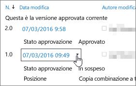 Elenco a discesa delle versioni nella finestra di dialogo