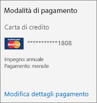 Sezione Modalità di pagamento per un abbonamento pagato tramite carta di credito.