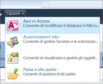 Il menu Opzioni di un sito per database Web in SharePoint