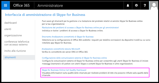 Strumenti Skype for Business