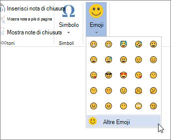 Fare clic su più Emojis sul pulsante Emojis nella scheda Inserisci per scegliere da tutti emojis disponibili.