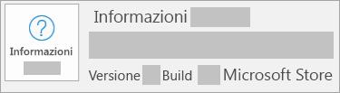 La schermata che mostra versione e build è Microsoft Store
