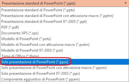 """L'elenco dei tipi di file in PowerPoint include """"Presentazione di PowerPoint (ppsx)""""."""