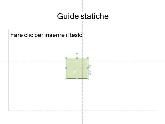 Guide statiche orizzontali e verticali mostrano dove si trova il centro della diapositiva