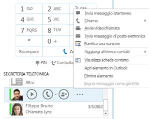 Schermata di controllo della segreteria telefonica in Lync