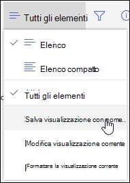Opzione Salva con nome del menu Visualizzazione elenco di SharePoint Online