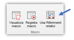 """schermata che mostra il pulsante """"Usa riferimenti relativi"""""""