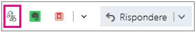 Outlook.com con il pulsante del componente aggiuntivo Translator evidenziato