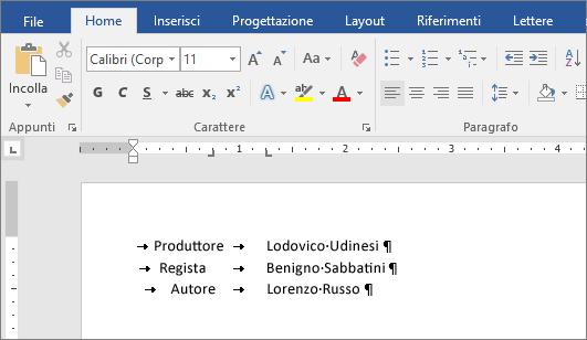 Esempio che mostra il testo allineato alle tabulazioni sul righello.