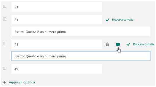 Domanda di un test visualizzata con il testo Risposta corretta accanto a due risposte corrette