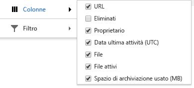 Opzioni colonne