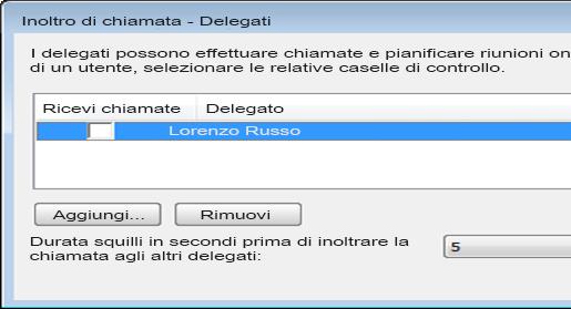 Schermata dell'aggiunta di un delegato in Lync