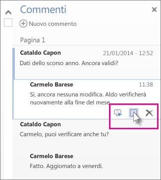 Immagine del comando per contrassegnare i commenti come completati. Fare clic su un commento per visualizzare il comando.
