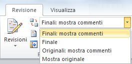 Opzioni di Visualizza per revisione