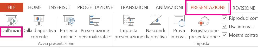 Nella scheda Presentazione fare clic su Dall'inizio.