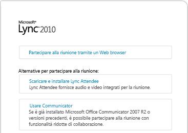 Immagine della finestra del browser di Lync
