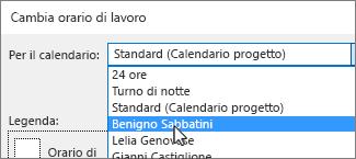 Risorse nell'elenco Per il calendario