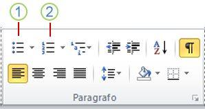 pulsanti elenchi puntati ed elenchi numerati di word 2010