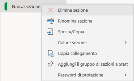 Screenshot del menu di scelta rapida per l'eliminazione di una linguetta di sezione in OneNote per Windows 10.
