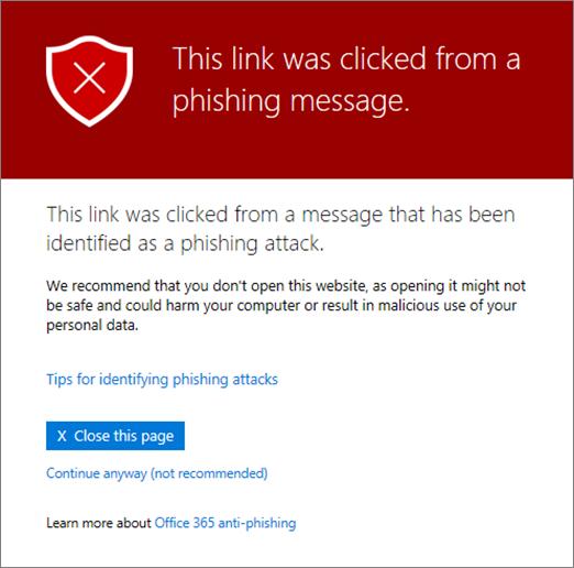 Questo URL è in un messaggio identificato come un tentativo di phishing