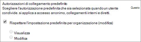 Schermata della predefinito collegamento impostazione delle autorizzazioni per una raccolta siti