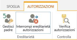 Controllo Autorizzazioni raccolta/elenco con il pulsante Interrompi ereditarietà autorizzazioni