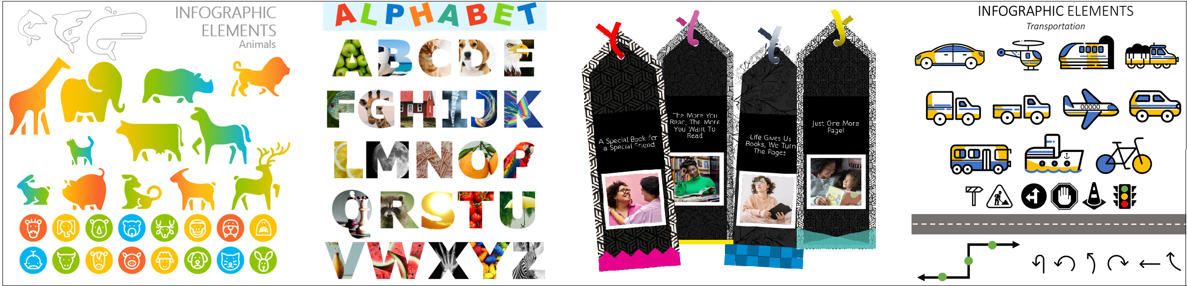 Collage di immagini delle attività per aiutare i bambini a imparare