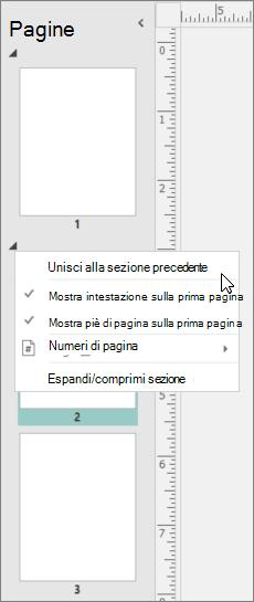 Screenshot che mostra una sezione selezionata con il cursore che punta all'opzione Unisci con sezione precedente.