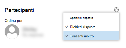 Screenshot dell'opzione Consenti inoltro