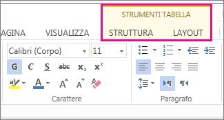 Immagine delle schede Progettazione e Layout di Strumenti tabella in Word Web App